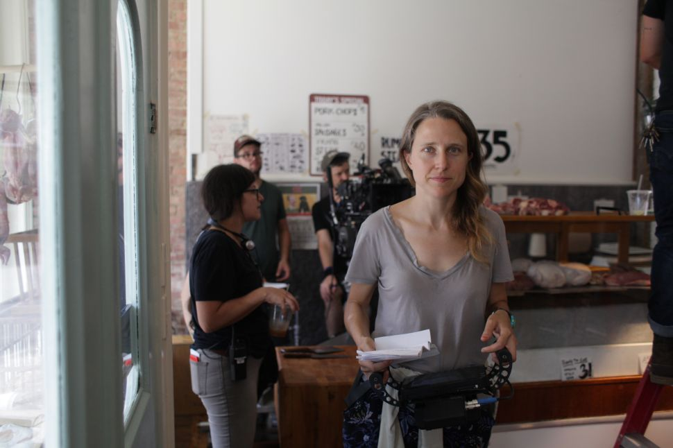 Josephine Decker on the set of Shirley