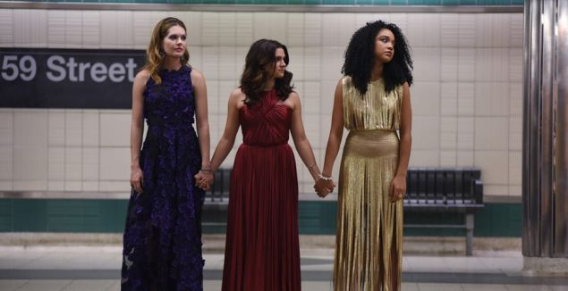 Meghann Fahy, Katie Stevens and Aisha Dee in the pilot of The Bold Type