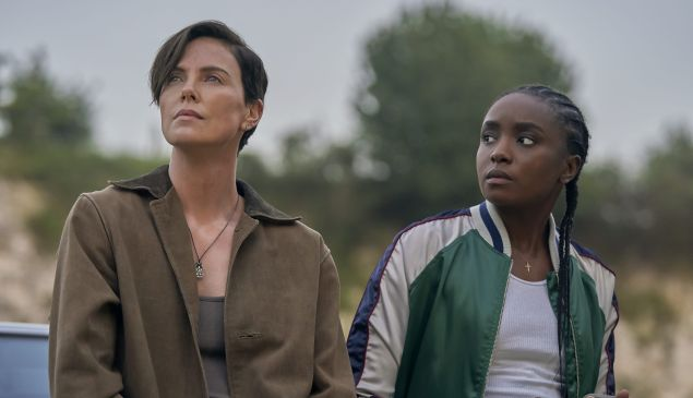 Charlize Theron as Andy and Kiki Layne as Nile in the film The Old Guard