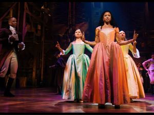 Phillipa Soo, Renee Elise Goldsberry and Jasmine Cephas Jones in Hamilton.