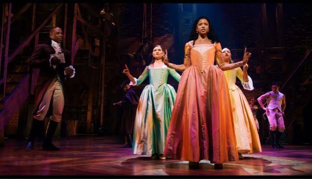 Phillipa Soo, Renee Elise Goldsberry and Jasmine Cephas Jones in Hamilton.