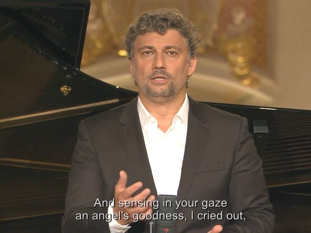 Tenor Jonas Kaufmann belts out an aria in the first 'Met Stars Live in Concert' streaming recital.
