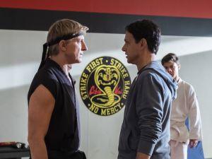 William Zabka as Johnny Lawrence and Ralph Macchio as Daniel LaRusso in Cobra Kai
