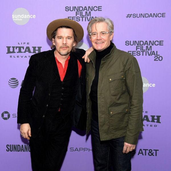 Ethan Hawke and Kyle MacLachlan attend the 2020 Sundance Film Festival's Tesla premiere in Park City, Utah.