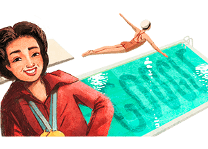 A Google Doodle for August 3 honors the Olympic diver Vicki Draves.