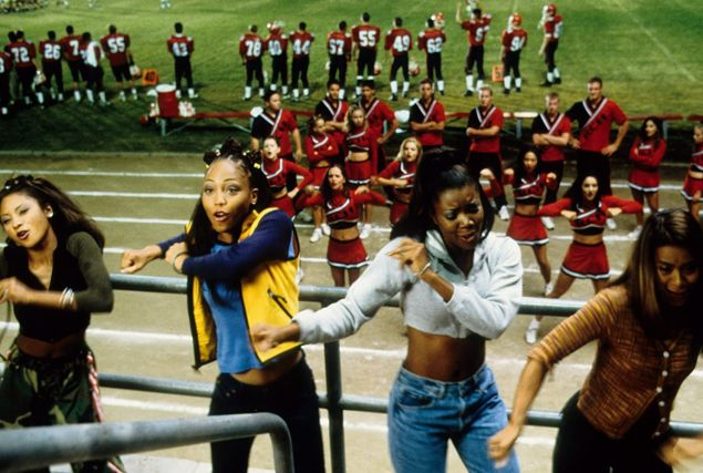 Natina Reed, Brandi Williams, Gabrielle Union and Shamari DeVoe in the iconic Bring It On scene where their East Compton Clovers