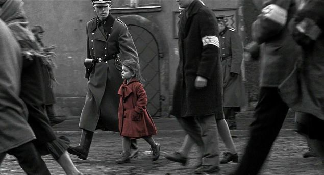 little girl in the red coat, played by Oliwia Dabrowska, as seen in Schindler's List
