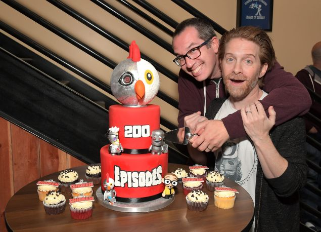 Matt Senreich (L) and Seth Green during the Robot Chicken set visit