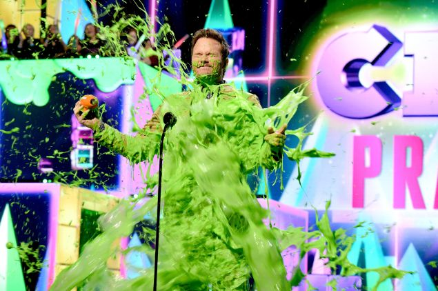 Chris Pratt gets slimed on stage during the 32nd Annual Nickelodeon's 2019 Kids' Choice Awards