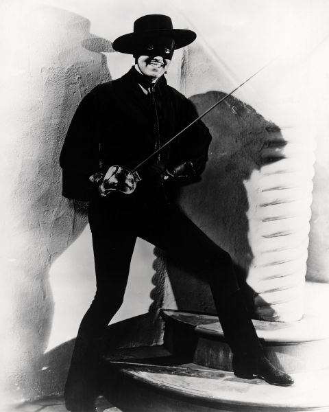 Zorro (Tyrone Power) in The Mark of Zorro, 1940