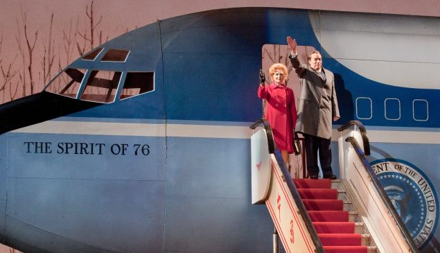 President and Mrs. Nixon disembark in a scene from John Adams' 'Nixon in China'.