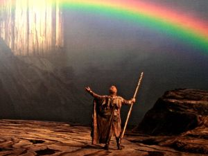 The gods enter their fortress Valhalla in Wagner's 'Der Ring des Nibelungen'.