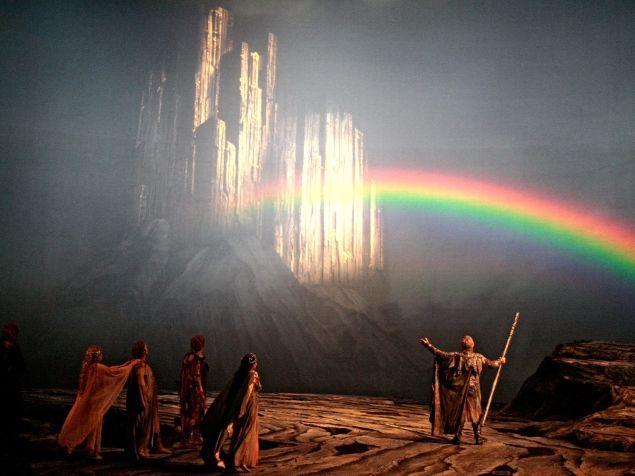 The gods enter their fortress Valhalla in Wagner's 'Der Ring des Nibelungen'.