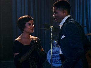 Tessa Thompson as Sylvie Parker and Nnamdi Asomugha as Robert Halloway in Sylvie's Love