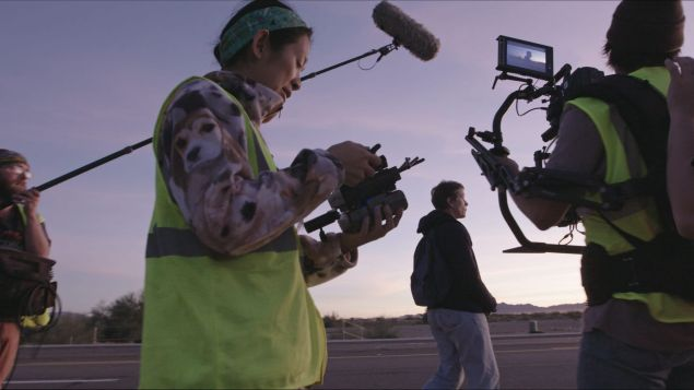 Director-writer Chloé Zhao and Frances McDormand on the set of Nomadland
