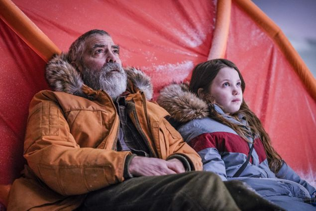 George Clooney and Caoilinn Springall in The Midnight Sky