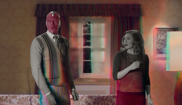 Paul Bettany as Vision and Elizabeth Olsen as Wanda Maximoff in Marvel Studios' WandaVision