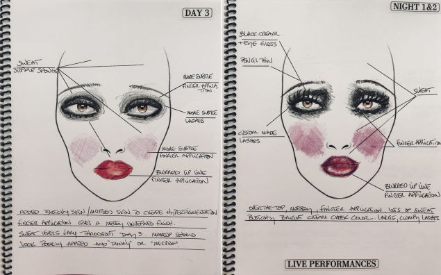 Sketches planning for Ma Rainey's makeup