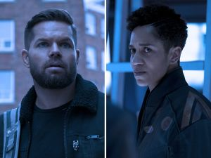 The Expanse Amos (Wes Chatham) and Naomi (Dominique Tipper)