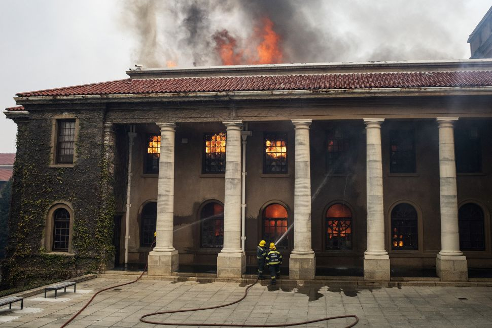 A Fire at the University of Cape Town's Library Has Likely Destroyed Many Materials