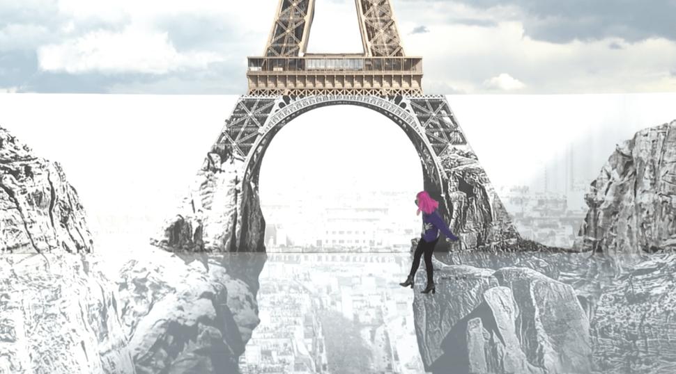 Artist JR Installed a Trompe-l'œil Canyon Illusion Under the Eiffel Tower