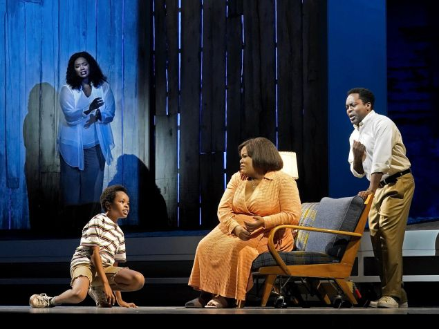 """Angel Blue as Destiny, Walter Russell III as Char'es-Baby, Latonia Moore as Billie, and Will Liverman as Charles in Terence Blanchard's """"Fire Shut Up in My Bones."""""""